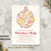 Christmas Party Invitation Card, Printable Holiday Card Template Holiday Party Card White Christmas Card Editable Stars Gold Red DIY - CH5