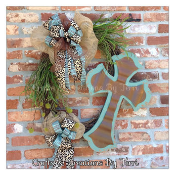 Cross Wreath - Spring Wreath - Summer Wreath - Everyday Wreath - Grapevine Wreath - Burlap Wreath - Distressed - Animal Print -  Door Decor