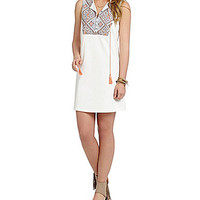 Freeway Embroidered-Neck Shift Dress - White