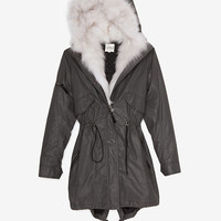 SAM EXCLUSIVE Hooded Fur Inset Jacket: Grey-Just In-Clothing-Categories- IntermixOnline.com