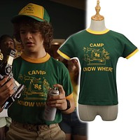 Stranger Things 3- Dustin's Yellow & Green '85 Camp Know Where Ringer Tee