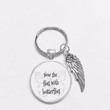 Now She Flies With Butterflies In Memory Guardian Angel Wing Miss You Keychain