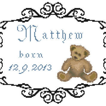 Baby Birth Record Matti - PDF Cross Stitch Pattern - INSTANT DOWNLOAD