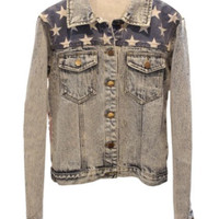ROMWE | Threadbare Stars Print Blue Denim Coat, The Latest Street Fashion