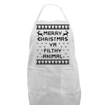 Merry Christmas Ya Filthy Animal Christmas Sweater Adult Apron