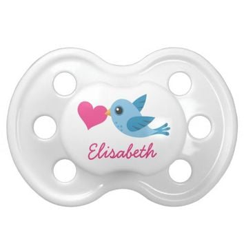 Personalized name blue love bird with pink heart baby pacifiers from Zazzle.com