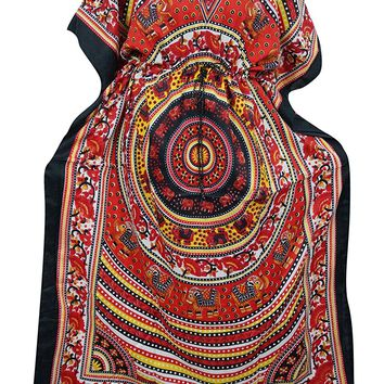 Womens Caftan Red Elephant Dancing Printed Cover Up Kaftan Maxi Dresses XXL: Amazon.ca: Clothing & Accessories