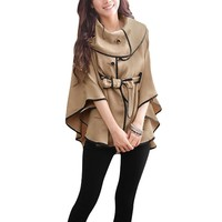 Ladies Korean New Buttons Front Pockets Decor Fall Cape