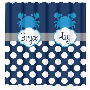 Crab SHOWER CURTAIN, Crab Bathroom Decor, Custom Monogram Personalized CRAB Navy Blue Turquoise Brother Sister Bathroom Bath Towel Bath Mat