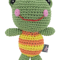 Dog Teeth Cleaning Cotton Crochet Squeaky Dog Toy for Small Dog - Froggy Frog