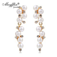 Pendientes Fashion Imitated Pearl Earrings for Women Brinco Jewlery Statement Crystal Stud Earrings Gold Boucle d'oreille