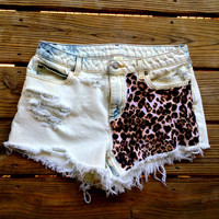 High Rise/High Waisted Distressed and Bleached Denim Cheetah Print Shorts