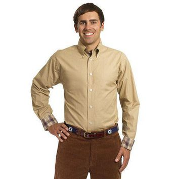 Straight Wharf Button Down in Chino Khaki With Harvest Plaid Trim by Castaway Clothing - FINAL SALE