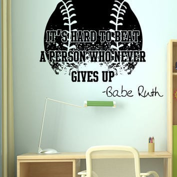 Vinyl Wall Decal Sticker Babe Ruth Quote #5430