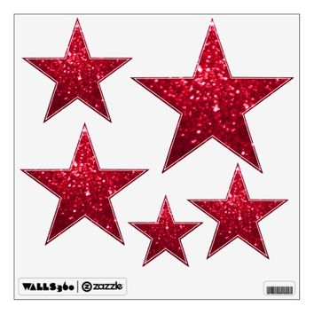 Red Glittery Look Stars: Wall Decals