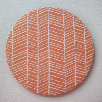 Mouse Pad mousepad / Mat - Round or rectangle - herringbone chevron white on carrot orange home office decor accessory coworker gift
