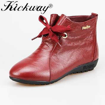 Kickway Women Genuine Leather Boots Vintage Style Flat Booties Soft Cow Leather Women's Shoes Ankle Boots zapatos mujer size 44
