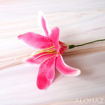 Magenta Pink Lily Hawaiian Flower Stick