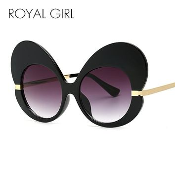 ROYAL GIRL New Women Sunglasses 2017 Brand Design Oversize Cat Eye Glasses Women Luxury Butterfly Shape Sun glasses SS096