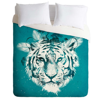 Robert Farkas White Tiger Duvet Cover