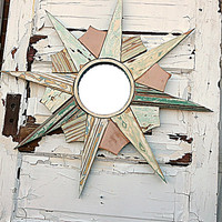 Pastel Starburst Mirror, Reclaimed Wood Mirror, Sun Burst Mirror, Mosaic Starburst, Mint Green Sunburst Mirror, Coastal Decor, Florida Decor