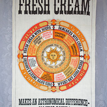 Vintage Linen Tea Towel FRESH CREAM Makes an Astronomical Difference all year round! Kitchen Dish Towel Hostess Towel