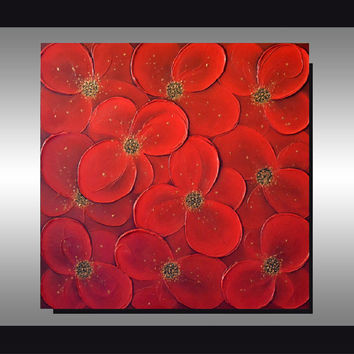 Original Floral Heavy Textured Art, Abstract Red Flowers Acrylic Painting, 3D Modern Home Decor, Great gift, 24x24 Wall Decor Artwork