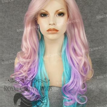 """26"""" Heat Safe Synthetic Lace Front in Curly Texture """"Calypso"""" in Galaxy Mix"""