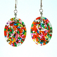 Candy resin earrings - cupcake sprinkle earrings - candy jewelry