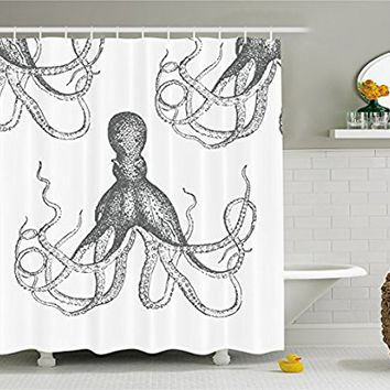 Ambesonne Kraken Decor Shower Curtain by, Sea Creatures Giant Octopus with Swirl Legs Nautical Theme Art Design Modern Print, Fabric Bathroom Set with Hooks, 70 Inches Long, Grey and White