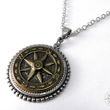 Steampunk Necklace Mens or Unisex Pendant Compass Rose Antiqued Brass on Silver handmade by compassrosedesign