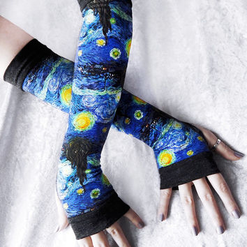 Starry Night Arm Warmers | Cobalt Pale Blue Yellow White Charcoal Grey Cotton | Yoga Van Gogh Unisex Galaxy Gothic Tarot Cycling Universe