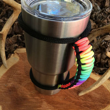 Paracord Yeti Rambler Handle Grip for 20 or 30 oz. Tie Dye / Black with free matching keychain