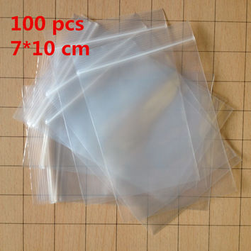 100 pcs LOT Small 7 X 10 cm Ziplock zip lock poly bags clear plastic bags for food storage bags thick transparent bag