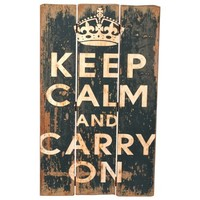 Wilco Imports Keep Calm and Carry On Black Distressed Wood Wall Plaque