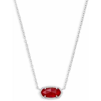 Kendra Scott: Elisa Silver Pendant Necklace In Ruby Red