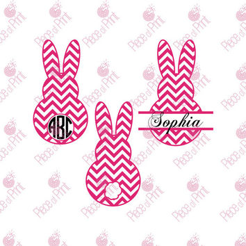 Chevron Easter Bunny SVG cut files, #Bunny Circle and Split Monogram frames for Cricut and Silhouette Vinyl Cutters Vector Graphic Files