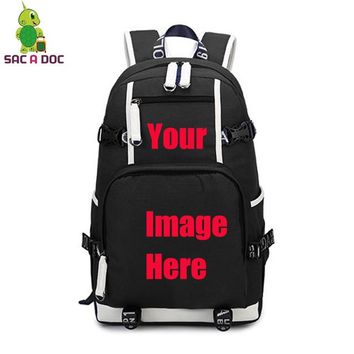 Anime Backpack School Customize Your Image Backpack kawaii cute Star Printed Canvas Backpack Large Travel Shoulder Bag Teens Students School Laptop Bags AT_60_4