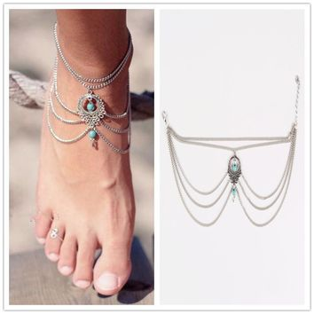 1PC Summer Ankle Bracelet Bohemian Foot Jewelry Turquoise Turquoise Anklets for Women