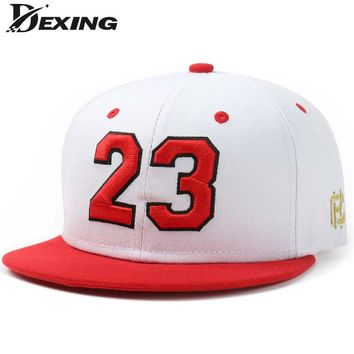 [Dexing] autumn winter red letter 23  baseball cap  Hip Hop Snapback hat Simple Classic Caps flat bill baseball cap  jordan