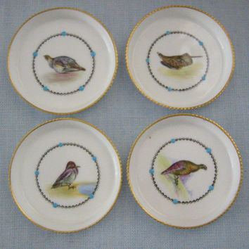 Royal Worcester Fine Bone China England Game Birds China Enameled Coasters