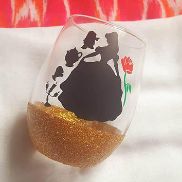 Disney Wine Glass, Belle, Beauty And The Beast Wine Glass, Glitter Wine Glass , Food And Wine Festival Tumbler