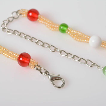 Handmade designer colorful tender bead woven necklace with floral pattern