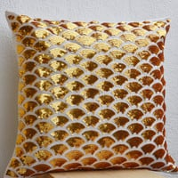 Gold Sequin Pillows With Embroidered Waves Scales Scallops Sashiko Cushion Accent Toss Pillow