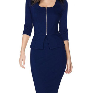 Blue Half Sleeve Bodycon Peplum Midi Dress