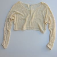 I Love H81 Cream Open Knit Long Sleeve Crop Top S/P