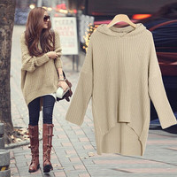 New Fashion Women Loose Long Bat-wing Sleeve Hooded Sweater Pullover Knitted Sweater Dress - 2 Great Colors!