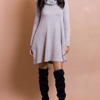 Bambi Turtle Nack Knit Dress - Taupe