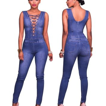 2017 Autumn New Sexy Women Deep V Neck Sleeveless Skinny Full Length Denim Jeans Overalls Nightclub Lace Up Lady Denim Jumpsuits