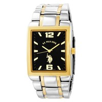 U.S. Polo Assn. Classic Men's USC80029 Two-Tone Rectangular Black Dial Link Watch